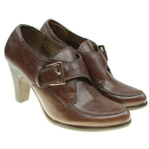 Aerosoles Brown Faux Leather Ankle Booties